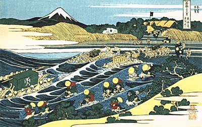 Katsushika Hokusai: Travellers Crossing the Oi River