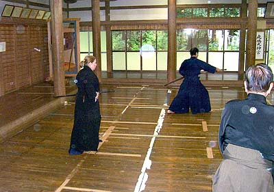 Performing iaido at the shrine demo. Photo by Peter Boylan.